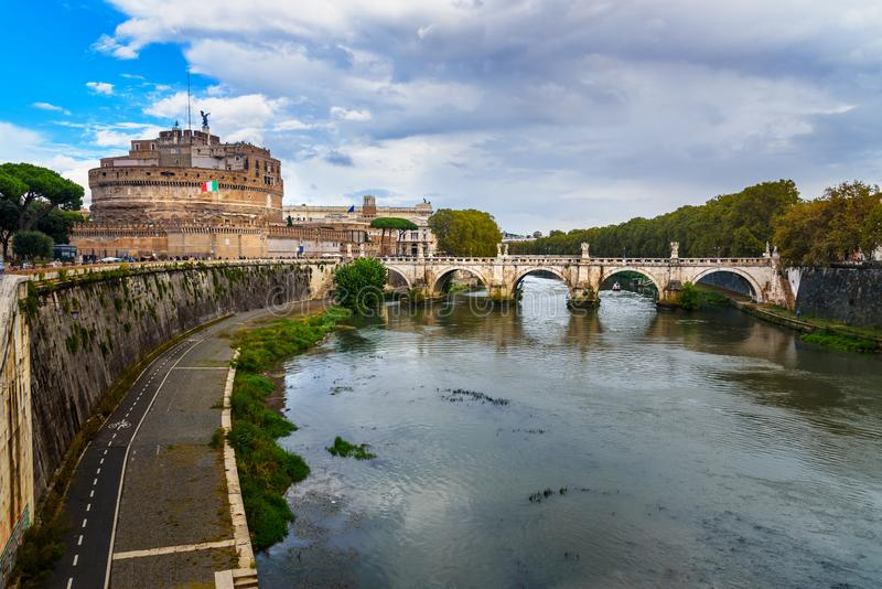 Castel Sant `Angelo or castle of Holy Angel and Ponte Sant `Angelo or Aelian Bridge in Rome. Italy royalty free stock image