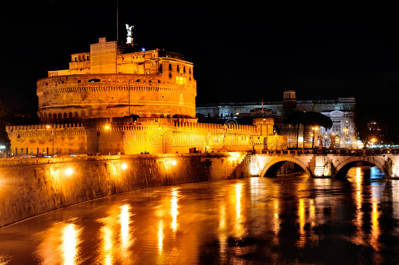 Castel Sant'Angelo de Night foto de archivo libre de regalías