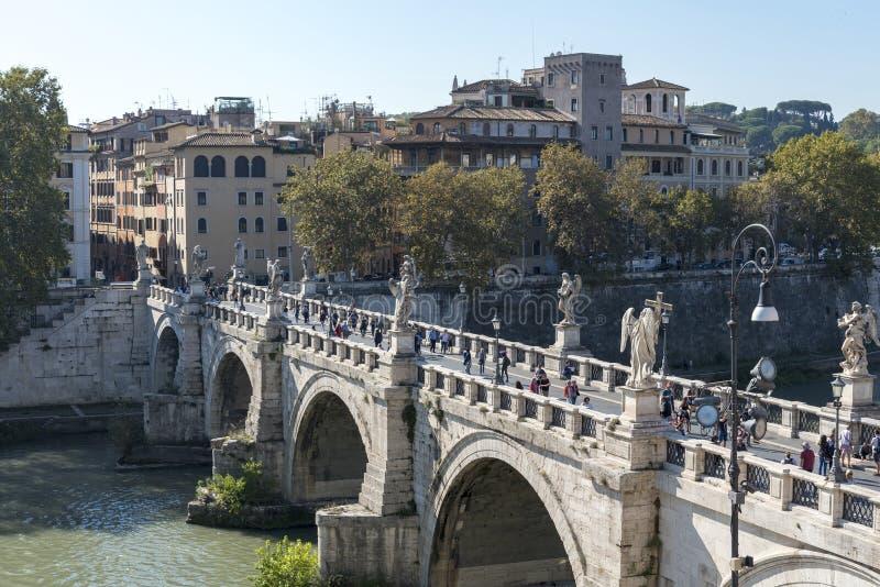 Castel Sant Angelo Castel Sant Angelo e Ponte Sant Angelo Ponte Sant Angelo, Roma, Itália imagem de stock