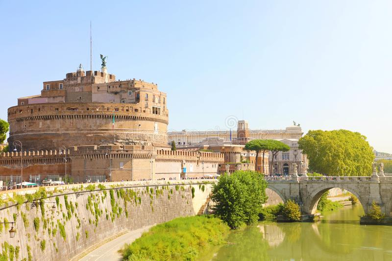 Castel Sant Angelo or Mausoleum of Hadrian with Ponte Sant Angelo bridge in Rome, Italy royalty free stock image