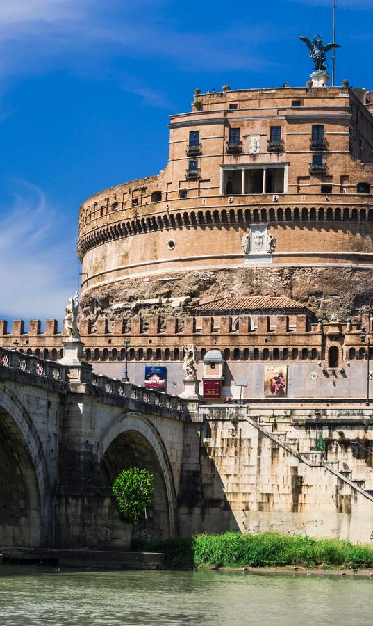 Castel Sant Angelo or Mausoleum of Hadrian in Rome, Italy .It`s now the famous tourist attraction of Italy. Castel Sant Angelo was royalty free stock photos