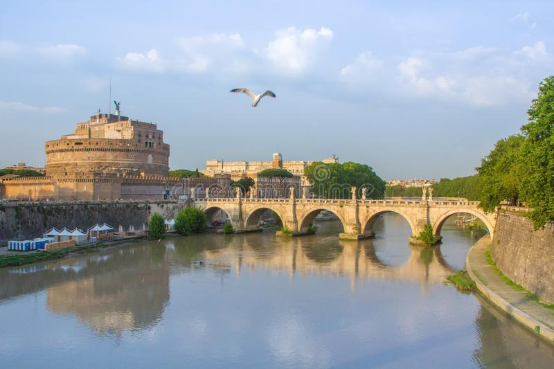Castel Sant Angelo or Mausoleum of Hadrian in Rome Italy. Saint Angel Castle and bridge over the Tiber stock photo