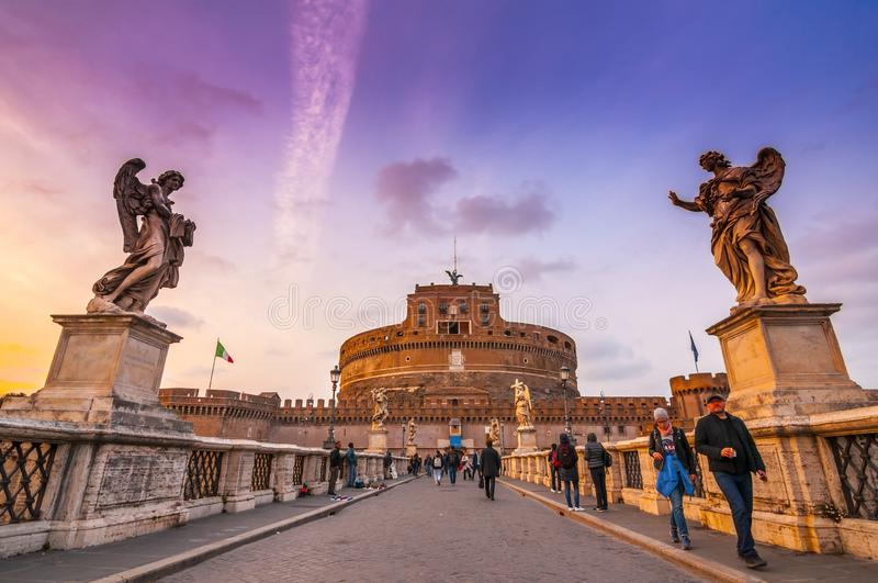 Castel Sant`Angelo, medieval castle along the Tiber River in Rome, Italy stock image