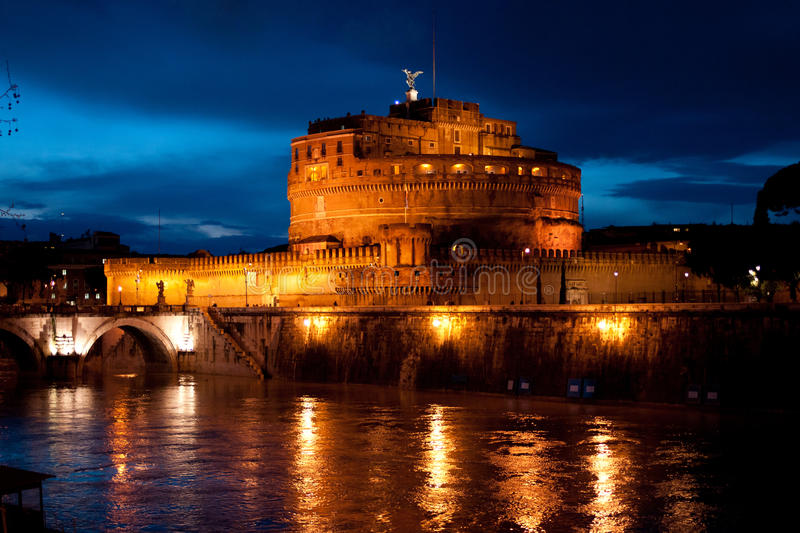 Castel Sant'Angelo at night, Rome, Italy stock images