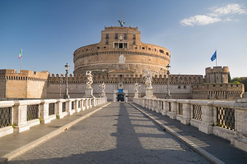 Castel Sant`Angelo and Ponte Sant`Angelo in Rome, Rome, Italy royalty free stock images