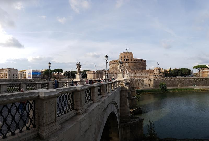 Castel Sant`Angelo, reflection, water, snow, winter royalty free stock photography