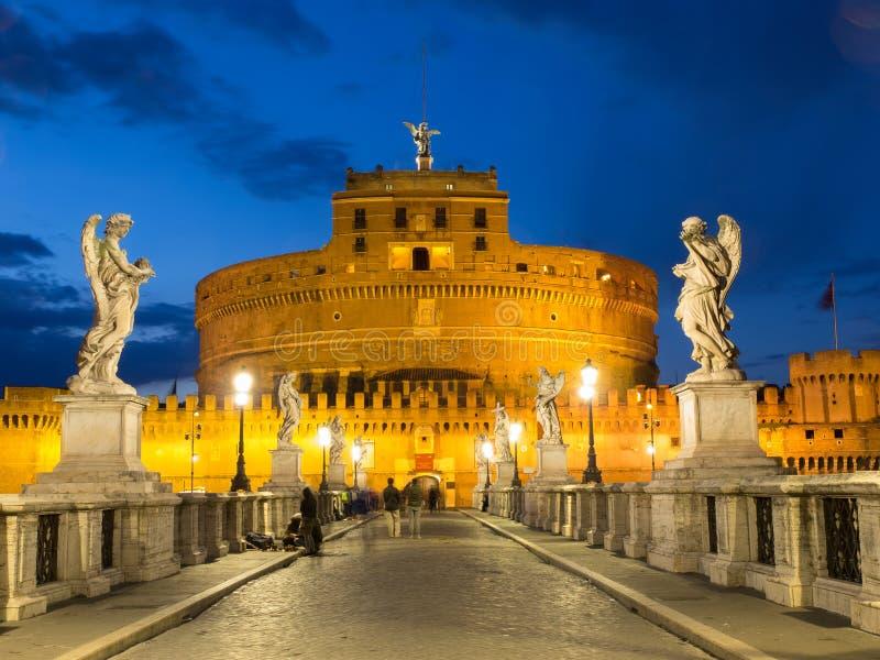 Castel Sant ` Angelo in Rome bij Nacht royalty-vrije stock fotografie