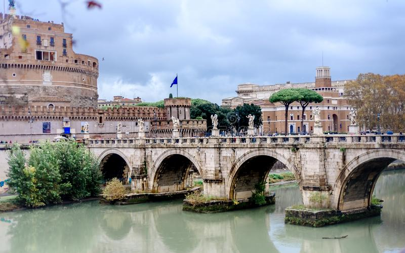 Castel Sant Angelo in Rome Italy, built in ancient Rome, the famous tourist attraction of Italy stock photos