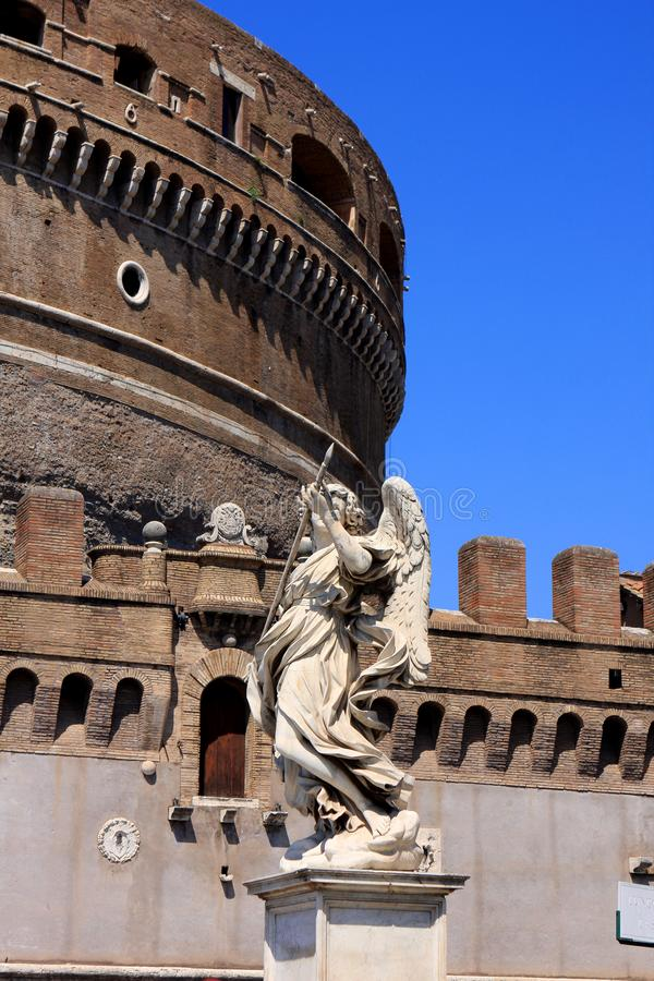 Castel Sant`Angelo in Rome, Italy. Medieval Castel Sant`Angelo Mausoleum of Hadrian in Parco Adriano, Rome, Italy stock photos