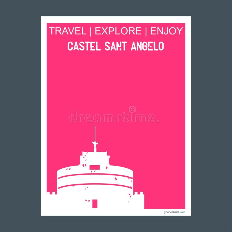 Castel Sant Angelo Rome, Italy. monument landmark brochure Flat. Style and typography vector - This Vector EPS 10 illustration is best for print media, web vector illustration
