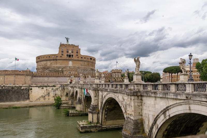 Castel Sant`Angelo Saint Angel Castle and bridge over Tiber River - Rome, Italy royalty free stock images