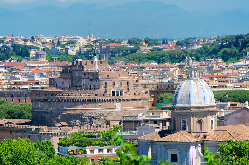 Castel Santangelo, Ρώμη, πανόραμα από Gianicolo, Ιταλία στοκ φωτογραφίες