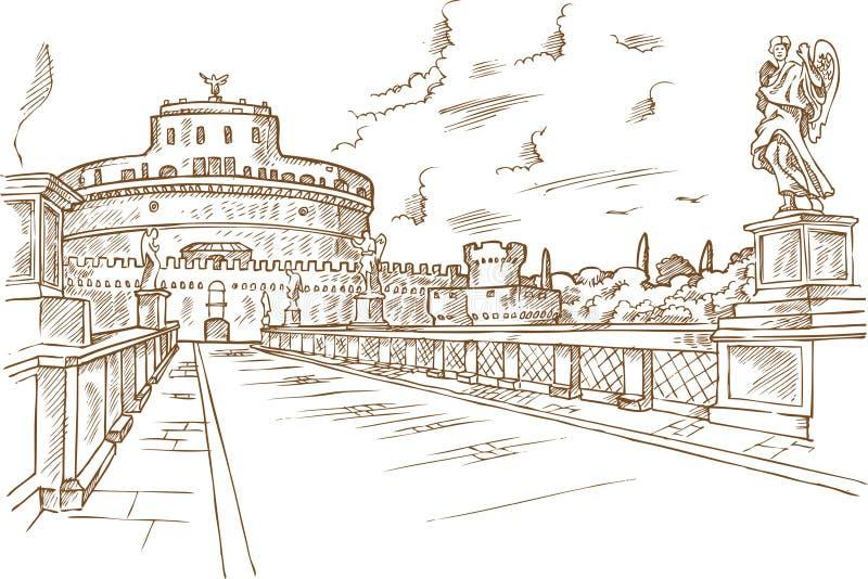 Castel Santangelo-de hand trekt royalty-vrije illustratie