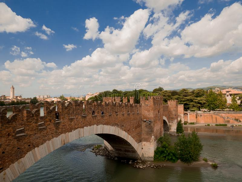 The Castel Vecchio Bridge, Italian: Ponte Scaligero is a fortified bridge in Verona, Italy. The Castel Vecchio Bridge or Scaliger Bridge (Italian: Ponte royalty free stock photos