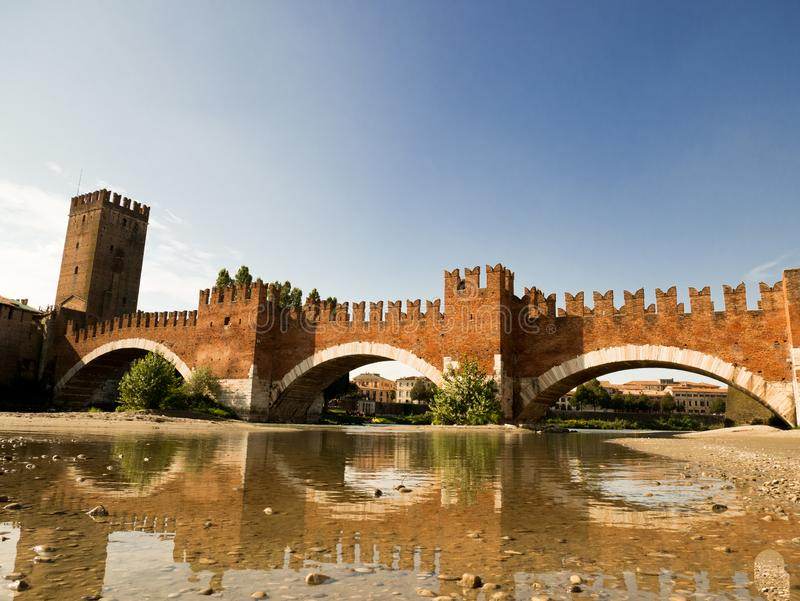 The Castel Vecchio Bridge, Italian: Ponte Scaligero is a fortified bridge in Verona, Italy. The Castel Vecchio Bridge or Scaliger Bridge (Italian: Ponte royalty free stock photography