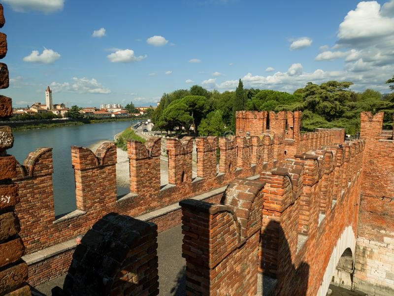 The Castel Vecchio Bridge, Italian: Ponte Scaligero is a fortified bridge in Verona, Italy. The Castel Vecchio Bridge or Scaliger Bridge (Italian: Ponte royalty free stock photo