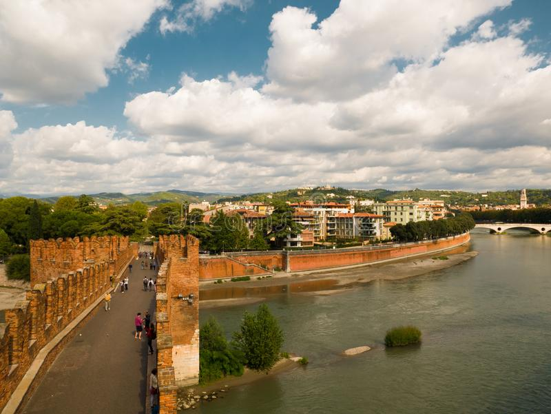 The Castel Vecchio Bridge, Italian. Ponte Scaligero is a fortified bridge in Verona, Italy. The Castel Vecchio Bridge or Scaliger Bridge (Italian: Ponte stock photo