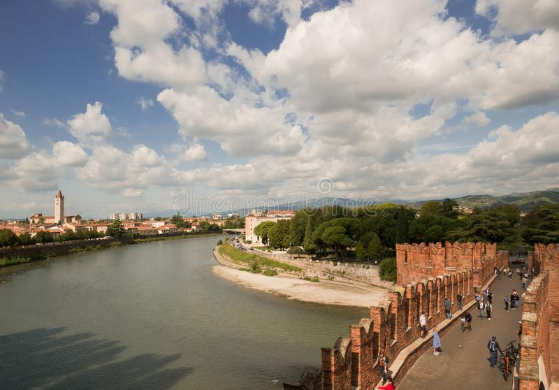The Castel Vecchio Bridge, Italian. Ponte Scaligero is a fortified bridge in Verona, Italy. The Castel Vecchio Bridge or Scaliger Bridge (Italian: Ponte royalty free stock photography