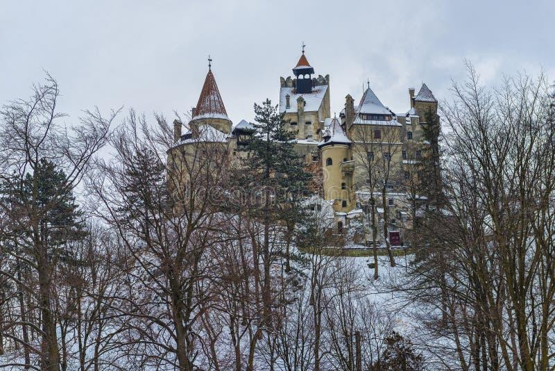 Castel von Dracula während des Winters stockfotos