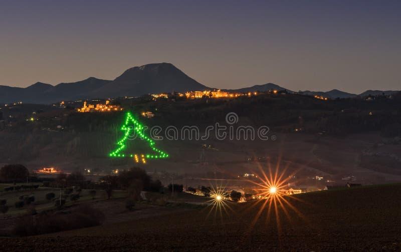 Castelbellino Christmas Tree royalty free stock photography