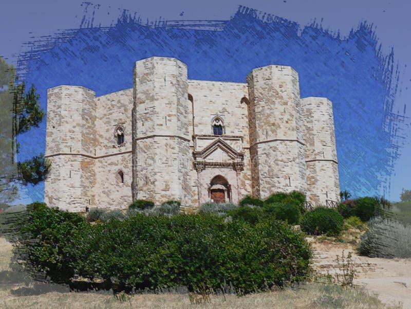 Casteldelmonte Castello e cittadella su una collina fotografia stock libera da diritti