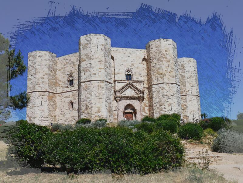 Casteldelmonte castle and citadel on a hill. royalty free stock photography