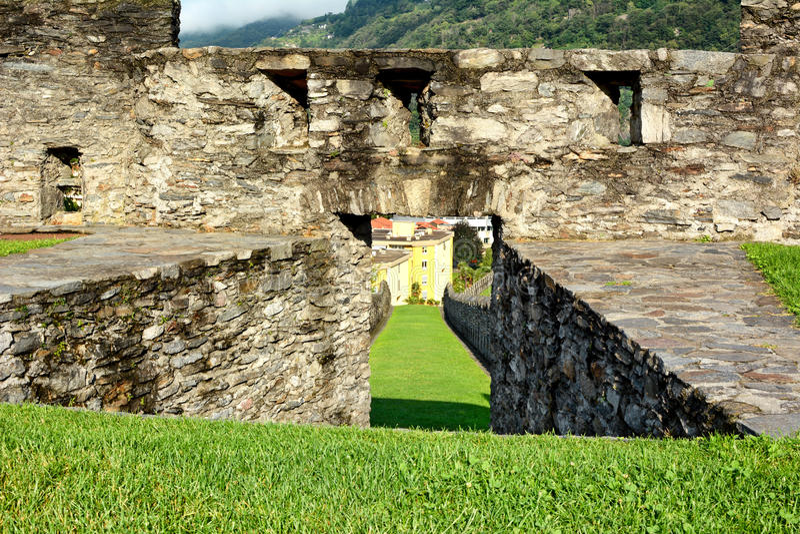 Castelgrande-Wall-Detail stockfotografie
