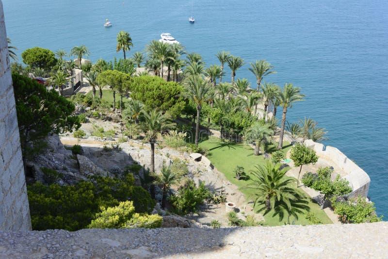 Gardens of the Papa Luna Castle in Peñiscola. stock photography