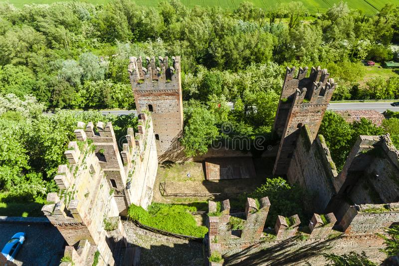 Castell Arquato in Italy. Architecture history emilia romagna tower castle travel landmark europe tourism building landscape fort fortress rocca viscontea royalty free stock photos