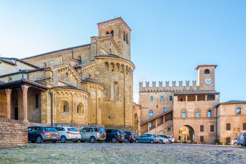 Palace Podesta and church of Saint Mary in Castell Arquato - Italy stock image