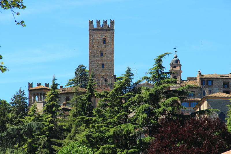 Castell'Arquato, a medieval village in northern Italy stock image