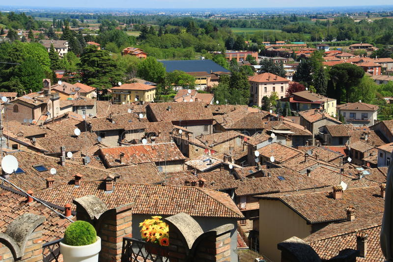 Castell'Arquato, a medieval village in northern Italy stock photography