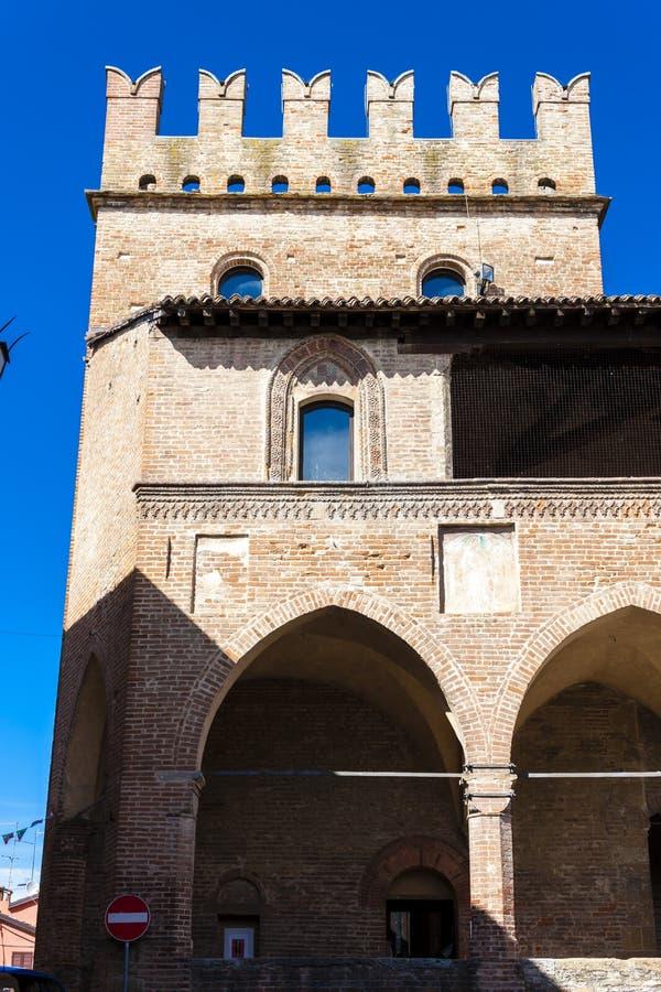 Castell Arquato in north Italy. Architecture history emilia romagna tower castle travel landmark europe tourism building landscape fort fortress rocca viscontea stock image