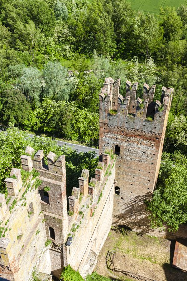 Castell Arquato in north Italy. Architecture history emilia romagna tower castle travel landmark europe tourism building landscape fort fortress rocca viscontea royalty free stock image
