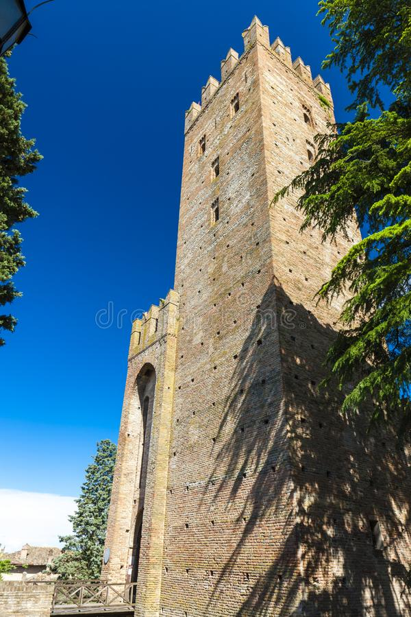 Castell Arquato in north Italy. Architecture, history, emilia, romagna, tower, castle, travel, landmark, europe, tourism, building, landscape, fort, fortress stock photos