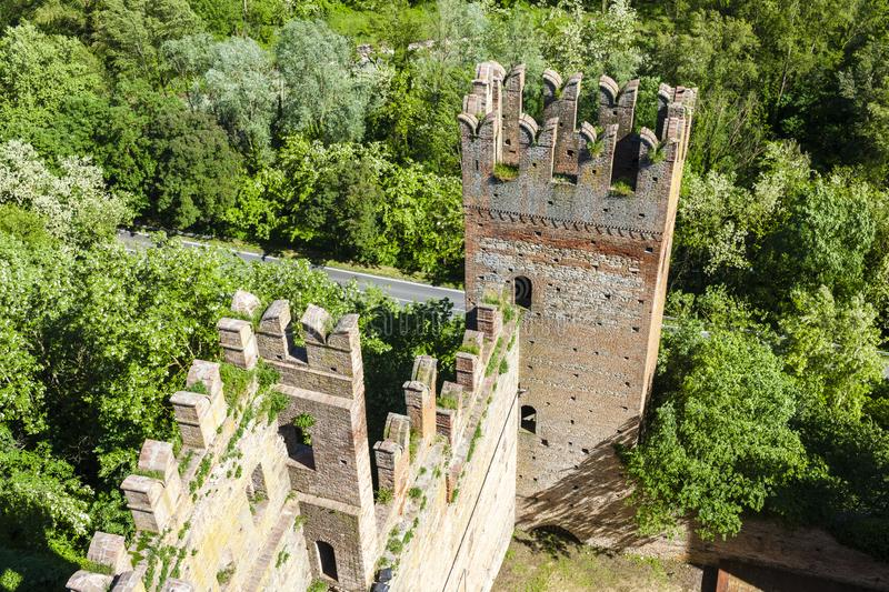 Castell Arquato in north Italy stock photography