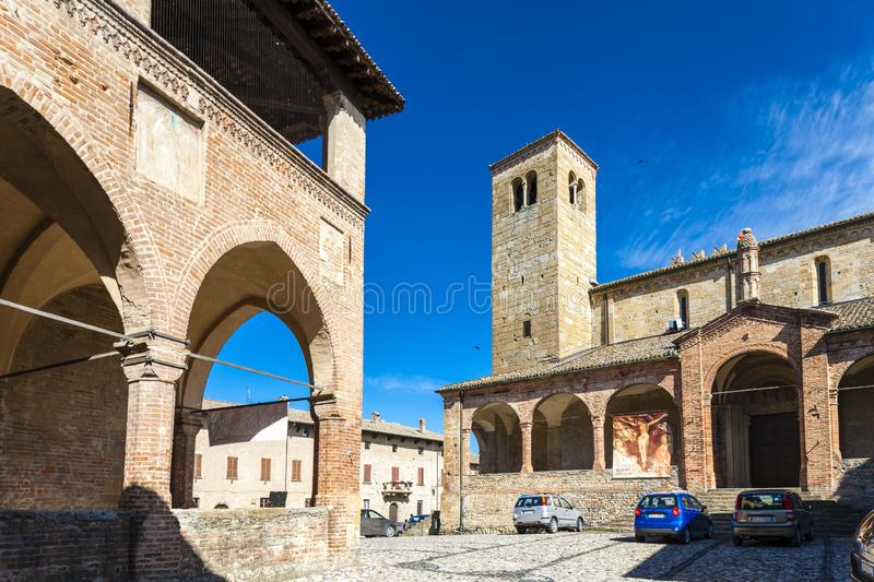 Castell Arquato in north Italy. Architecture, history, emilia, romagna, tower, castle, travel, landmark, europe, tourism, building, landscape, fort, fortress royalty free stock images