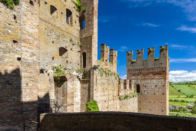 Castell Arquato in north Italy. Architecture, history, emilia, romagna, tower, castle, travel, landmark, europe, tourism, building, landscape, fort, fortress stock photo