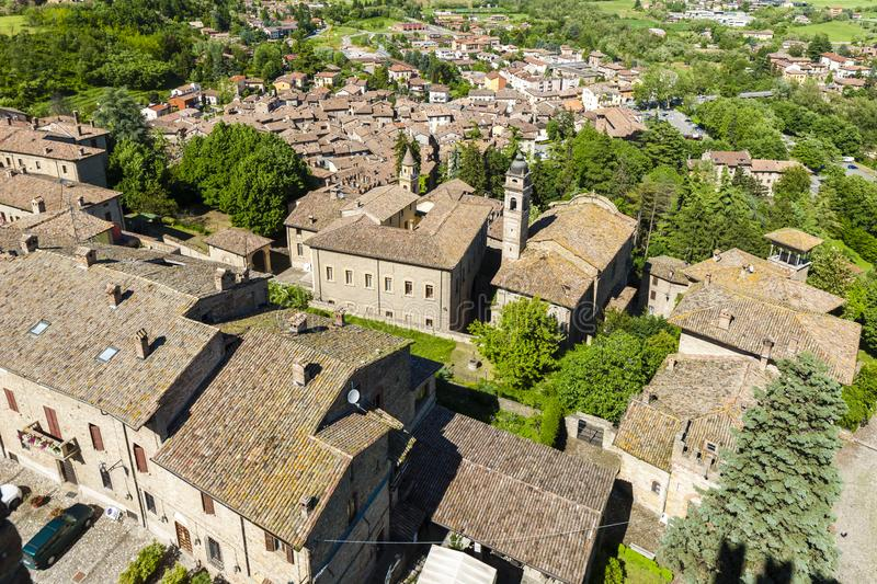 Castell Arquato in north Italy. Architecture, history, emilia, romagna, tower, castle, travel, landmark, europe, tourism, building, landscape, fort, fortress stock photography