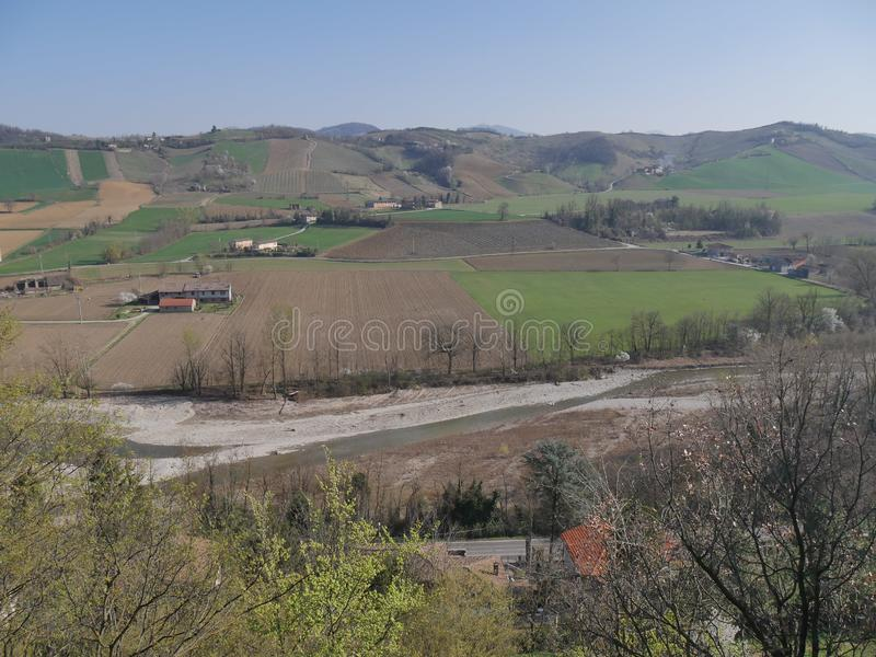 Castell`Arquato panorama. Panorama on the countryside from Visconti Castle in Castell`Arquato stock image