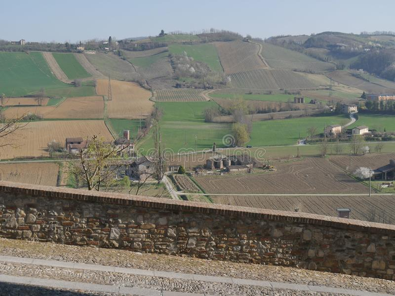 Castell`Arquato panorama. Panorama on the countryside from Visconti Castle in Castell`Arquato stock photography