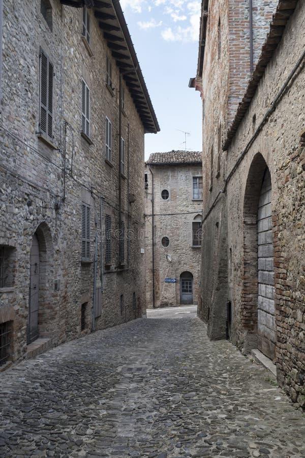 Castell`Arquato Piacenza, Italy, historic city stock photo