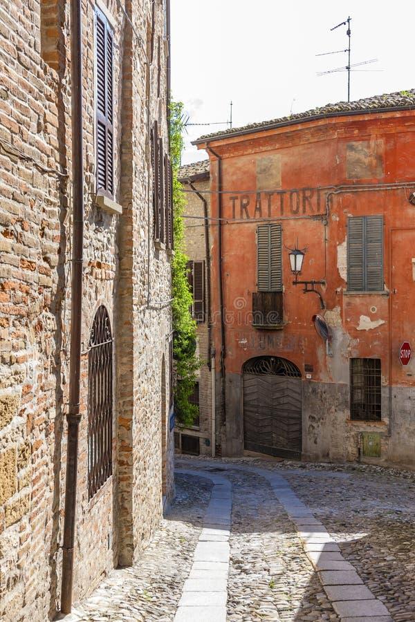 Castell Arquato, Piacenza Province, Italy. Europe architecture building house facade trattoria stock photos