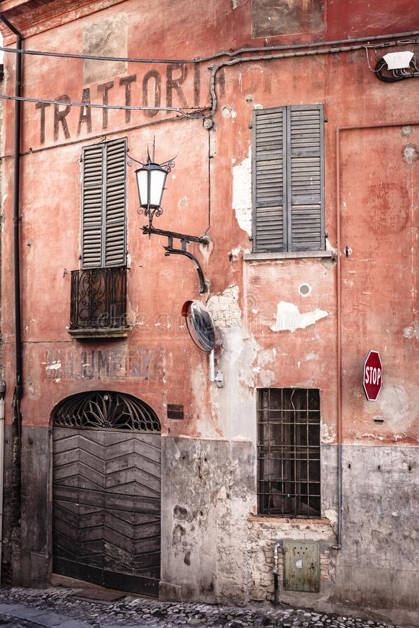 Castell Arquato, Piacenza Province, Italy. Europe, architecture, building, house, facade, trattoria stock photography