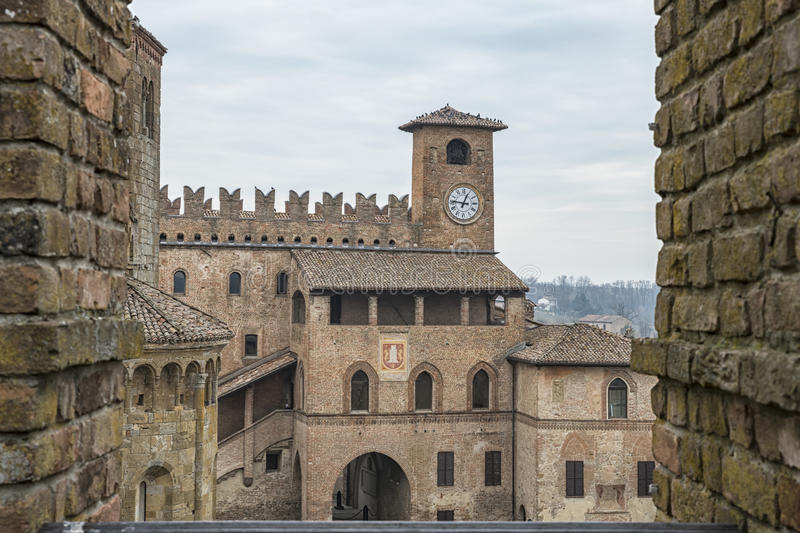 Castell'Arquato. A picture of the Castell'Arquato square in Italy stock photos