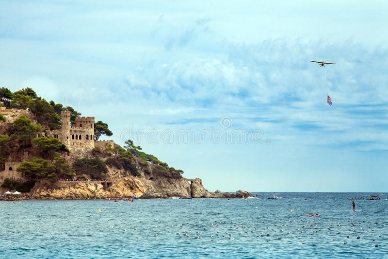 Castell D `-en Plaja på Costa Brava i Lloret de Mar, Spanien V arkivbilder