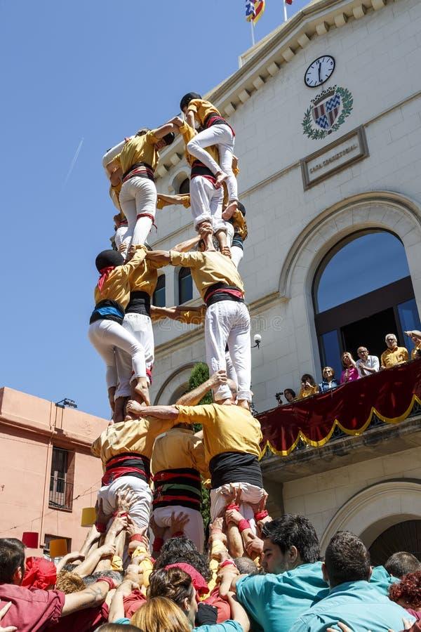 Castell of Menselijke Toren, typische traditie in Catalonië royalty-vrije stock afbeeldingen