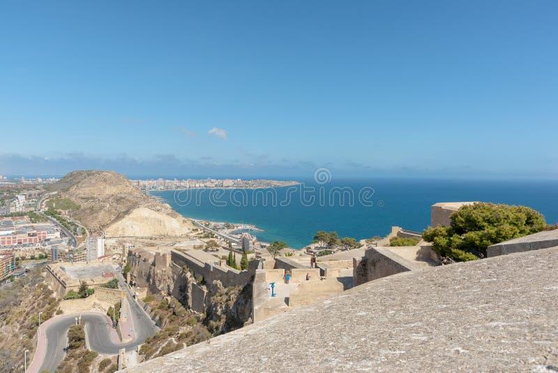 Castell Santa Barbara Alicante Hiszpania Śródziemnomorski widok od jego zdjęcia royalty free