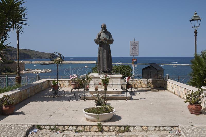 Padre Pio monument. Castellammare del Golfo, Italy - September 04, 2018 : Padre Pio monument in Castellammare stock photos