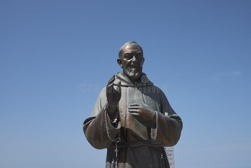 Padre Pio monument. Castellammare del Golfo, Italy - September 04, 2018 : Padre Pio monument in Castellammare royalty free stock photo